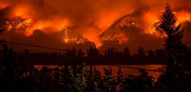 FILE - This Sept. 4, 2017, file photo provided by KATU-TV shows a wildfire as seen from near Stevenson, Wash., across the Columbia River, burning in the Columbia River Gorge above Cascade Locks, Ore. A teenager who started the major wildfire in the scenic Columbia River Gorge in Oregon has been ordered to pay restitution for at least the next decade, though it's unlikely the boy will ever cover his nearly $37 million bill. (Tristan Fortsch/KATU-TV via AP, File)