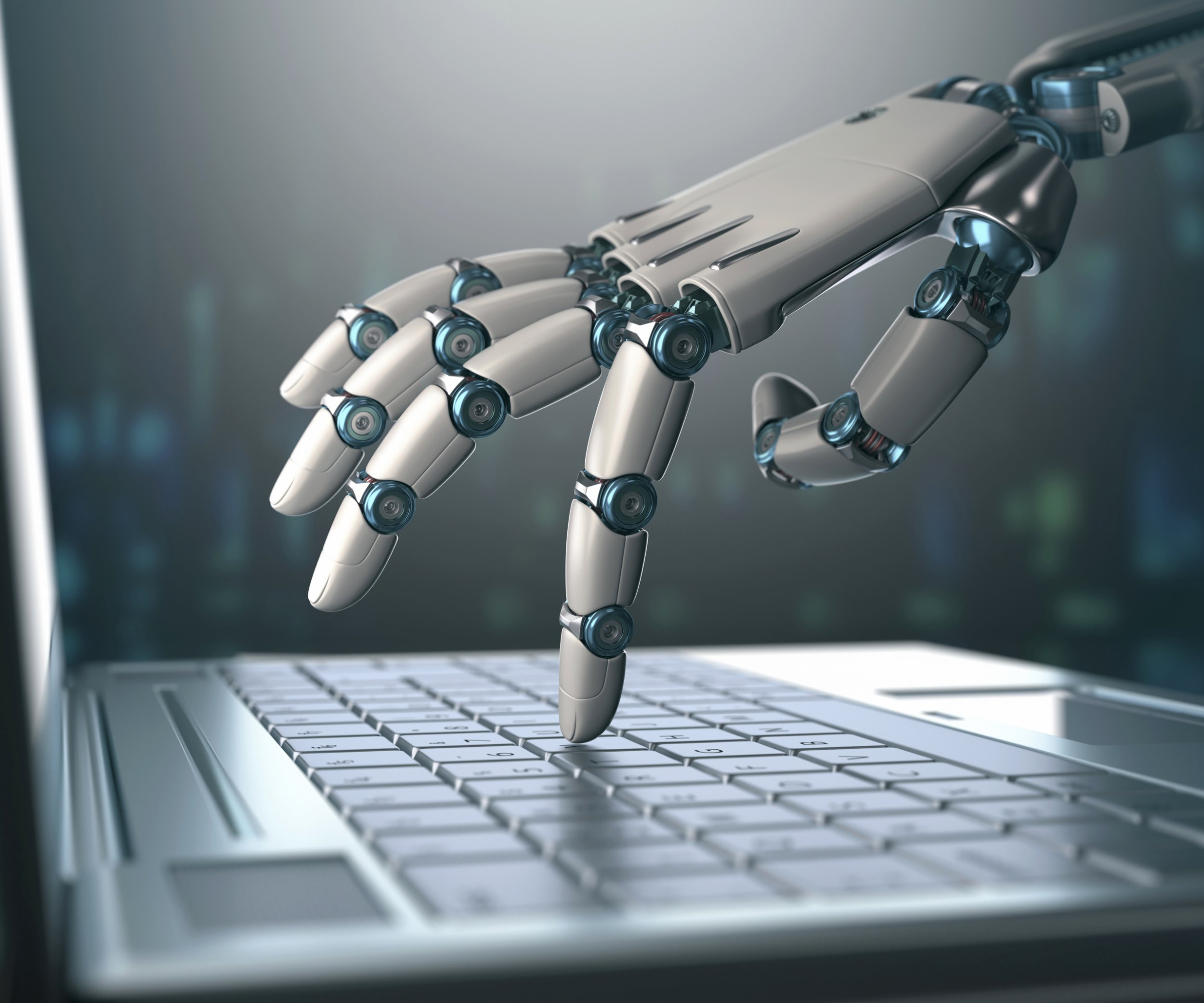 Robotic hand using a laptop computer, illustration.