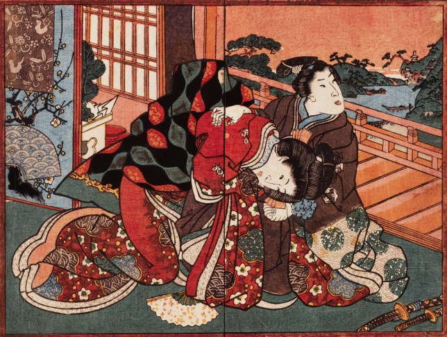 "This is a two page frontispiece from an album of shunga designs. Shunga means ""spring pictures,"" spring being a euphemism for sex. An elegantly dressed young couple on a veranda overlooking a garden begin to explore. An album of this sort would traditionally have consisted of twelve double-spreads, and the pictures after this frontispiece would have been quite graphic. The printing quality is unusually high for this sort of design. 