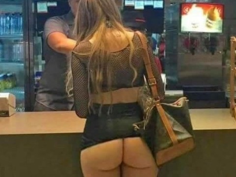 Woman casually orders food with her whole bum on display after night out in Majorca