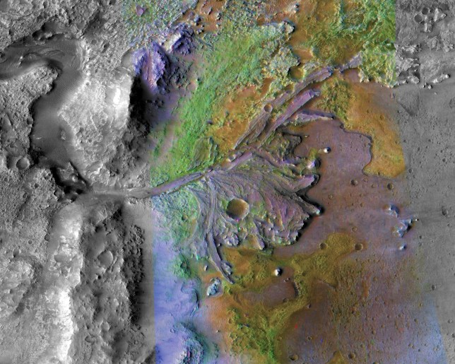 Jezero crater on Mars located n the Syrtis Major quadrangle. The diameter of the crater is about 49.0 km and it is thought to have once been flooded with water but now containss a fan-delta deposit rich in clays. See National News story NNMARS; Iron-rich rocks near ancient lake sites on Mars could hold vital clues that show life once existed there, research suggests. These rocks ? which formed in lake beds ? are the best place to seek fossil evidence of life from billions of years ago, researchers say. A new study that sheds light on where fossils might be preserved could aid the search for traces of tiny creatures ? known as microbes ? on Mars, which it is thought may have supported primitive life forms around four billion years ago. A team of scientists has determined that sedimentary rocks made of compacted mud or clay are the most likely to contain fossils. These rocks are rich in iron and a mineral called silica, which helps preserve fossils.
