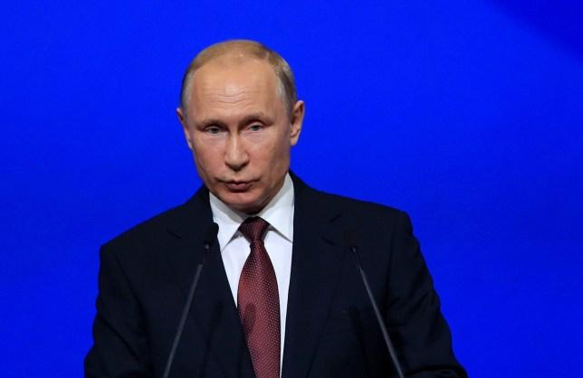 ST PETERSBURG, RUSSIA - MAY 25 : Russia's President Vladimir Putin speaks during the 2018 St Petersburg International Economic Forum in St Petersburg, Russia on May 25, 2018. (Photo by Sefa Karacan/Anadolu Agency/Getty Images)