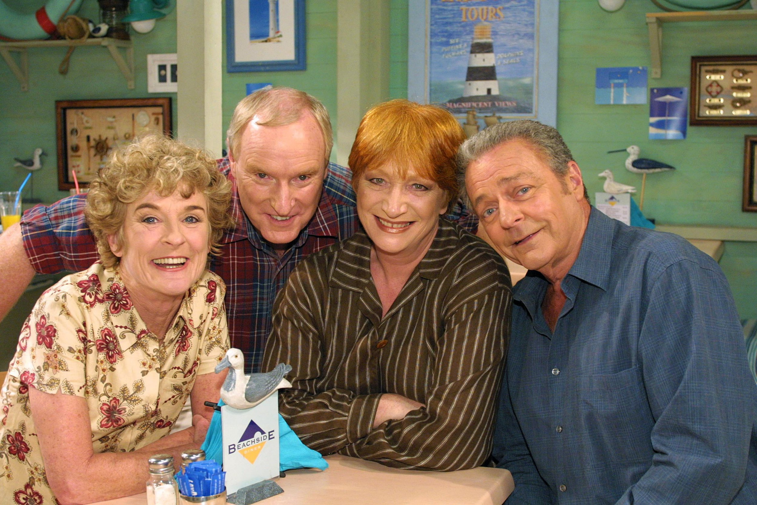 An undated handout photo of (L to R:) Judy Nunn, Ray Meagher, Cornelia Frances and Norman Coburn as they are reunited on the long running Seven soap opera Home and Away. Australian television will celebrate 50 years on Sept. 16, 2006, since TCN-9's first broadcast in 1956. (AAP Image/Seven) NO ARCHIVING, EDITORIAL USE ONLY