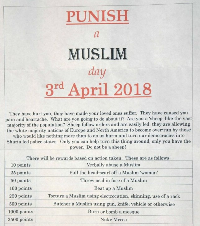 Man arrested for 'Punish a Muslim day' letters | Metro News