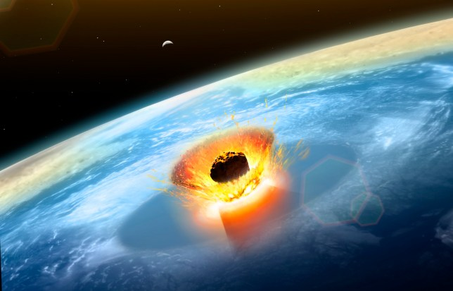 Asteroid impact. Illustration of a large asteroid colliding with Earth on the Yucatan Peninsula in (what is modern day) Mexico. This impact is believed to have led to the death of the dinosaurs some 65 million years ago. The impact formed the Chicxulub crater, which is around 200 kilometres wide. The impact would have thrown trillions of tons of dust into the atmosphere, cooling the Earths climate significantly, which may have been responsible for the mass extinction. A layer of iridium- rich rock, known as the K pg boundary, is thought to be the remnants of the impact debris.