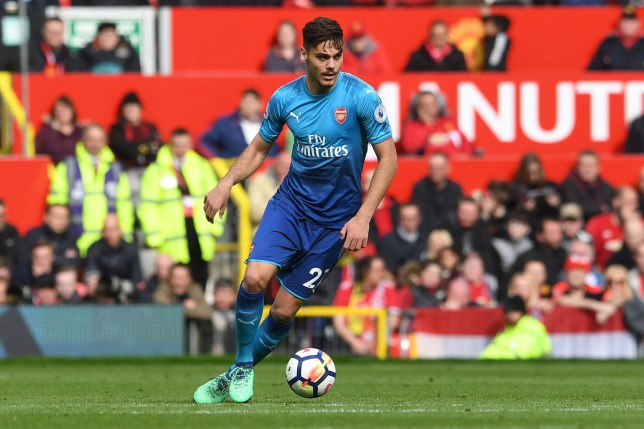 MANCHESTER, ENGLAND - APRIL 29: Konstantinos Mavropanos of Arsenal during the Premier League match between Manchester United and Arsenal at Old Trafford on April 29, 2018 in Manchester, England. (Photo by David Price/Arsenal FC via Getty Images)