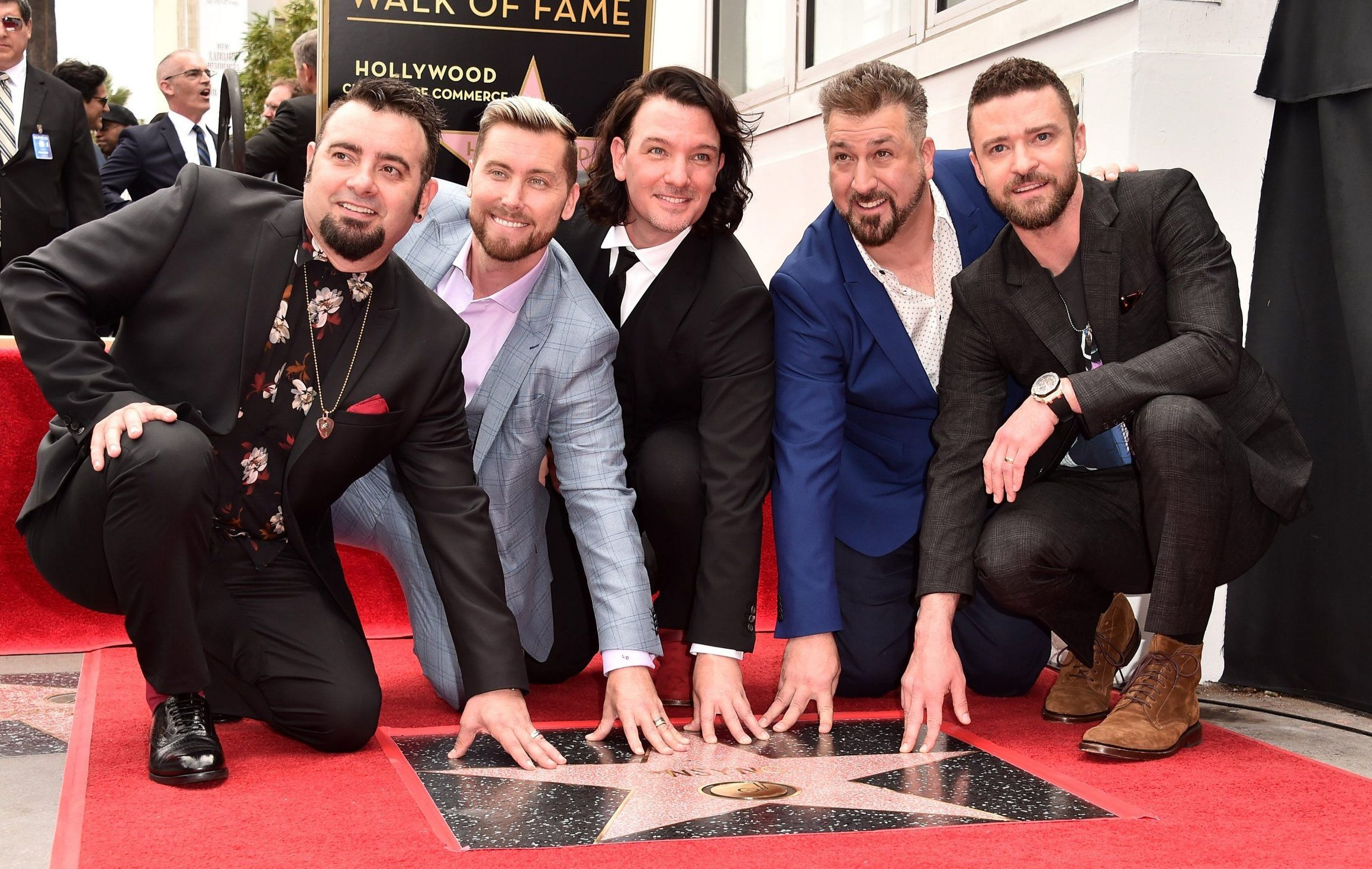 HOLLYWOOD, CA - APRIL 30: Singers Chris Kirkpatrick, Lance Bass, JC Chasez, Joey Fatone and Justin Timberlake of NSYNC are honored with a star on the Hollywood Walk of Fame on April 30, 2018 in Hollywood, California. (Photo by Alberto E. Rodriguez/Getty Images)