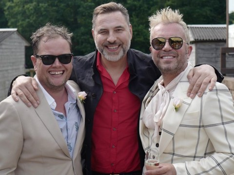 David Walliams gives fans a glimpse into Alan Carr's star-studded wedding party with Paul Drayton
