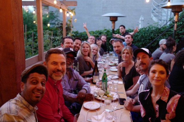 David Walliams enjoyed a star-studded dinner with Jennifer Aniston, Adam Sandler and Luke Evans (Picture: Twitter)