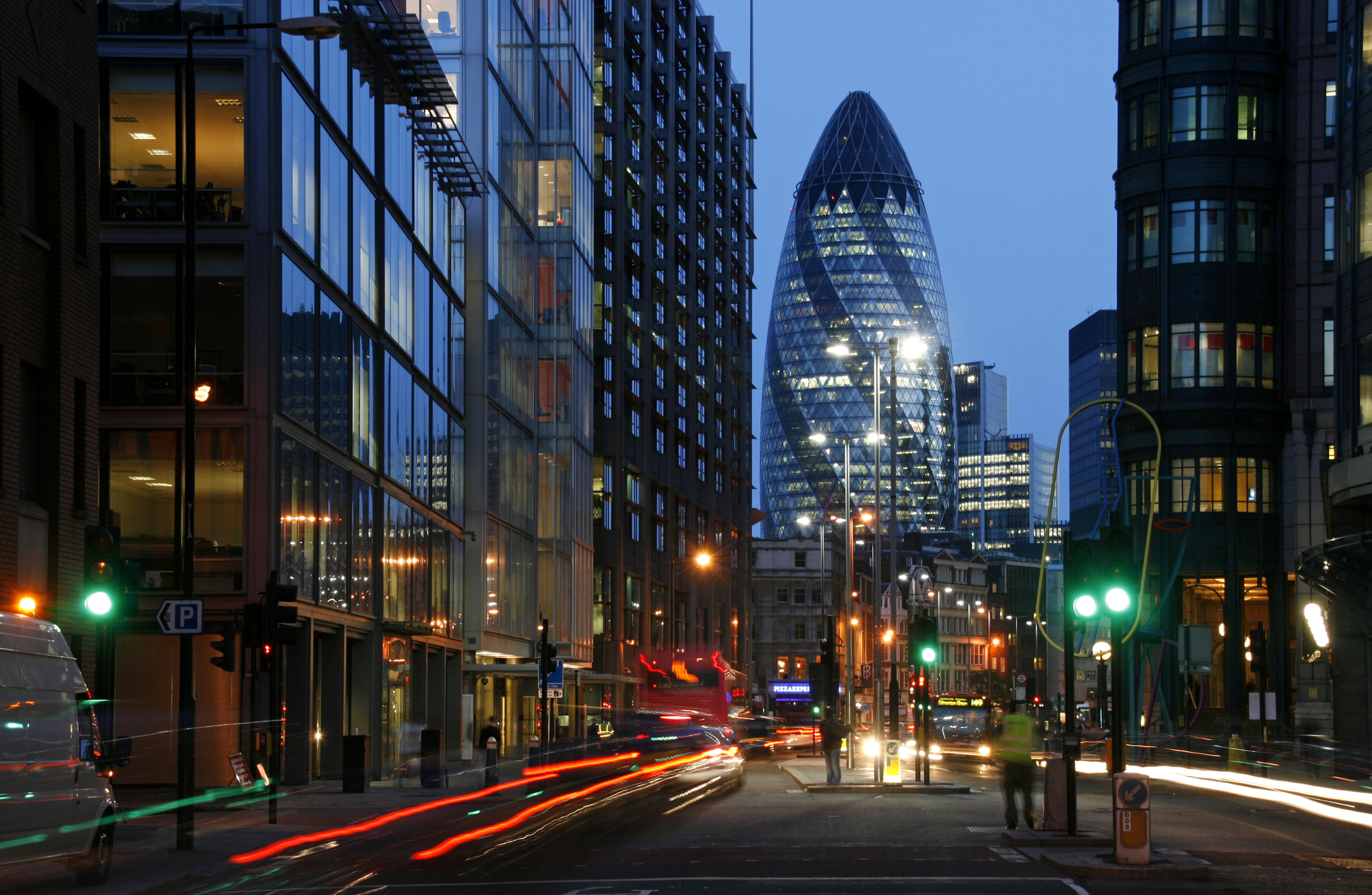 The Swiss Re Tower in the City of London.