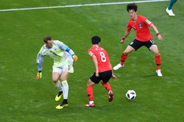 3a51b4870e6 Germany goalkeeper Manuel Neuer lost the ball in the South Korean half  before they scored their second (Picture: Getty)
