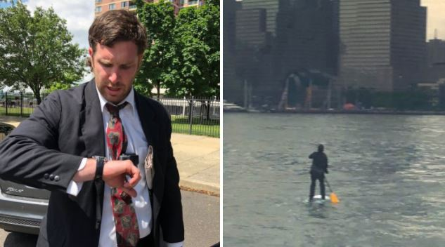 Man in a suit takes paddleboard across the Hudson to avoid paying fare