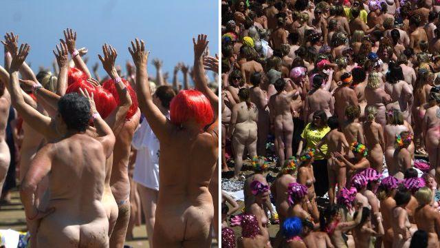 Women break Guinness World Record for world's largest skinny dip