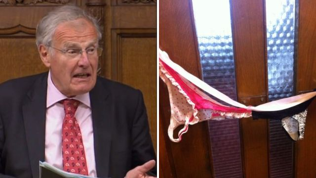 MPs 'teach' Christopher Chope upskirting lesson by hanging knickers at his office