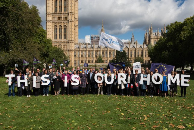 Victoria Tower Gardens, LONDON EU citizens living and working in the UK hold up 4ft (1.2 metre) high letters spelling out 'This Is Our Home.' Part of a mass lobby today of the government to protect the rights of these citizens post-Brexit The lobby has been organised by UNISON, the3million and British in Europe. Notes for editors: – The3million is a campaign group working to preserve the rights of EU citizens in the UK. – UNISON is one of the UK's largest unions representing 1.3 million people working in public services. – British in Europe is the largest coalition group of British citizens living and working in Europe.