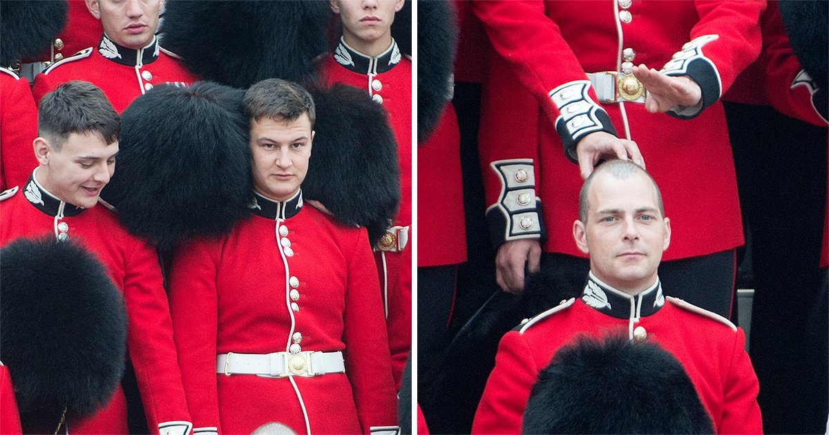 Scots Guards caught goofing around when the Queen isn't looking