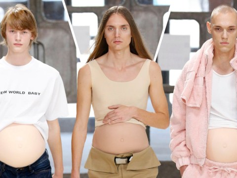 A bunch of male models walked the runway with fake pregnant bellies