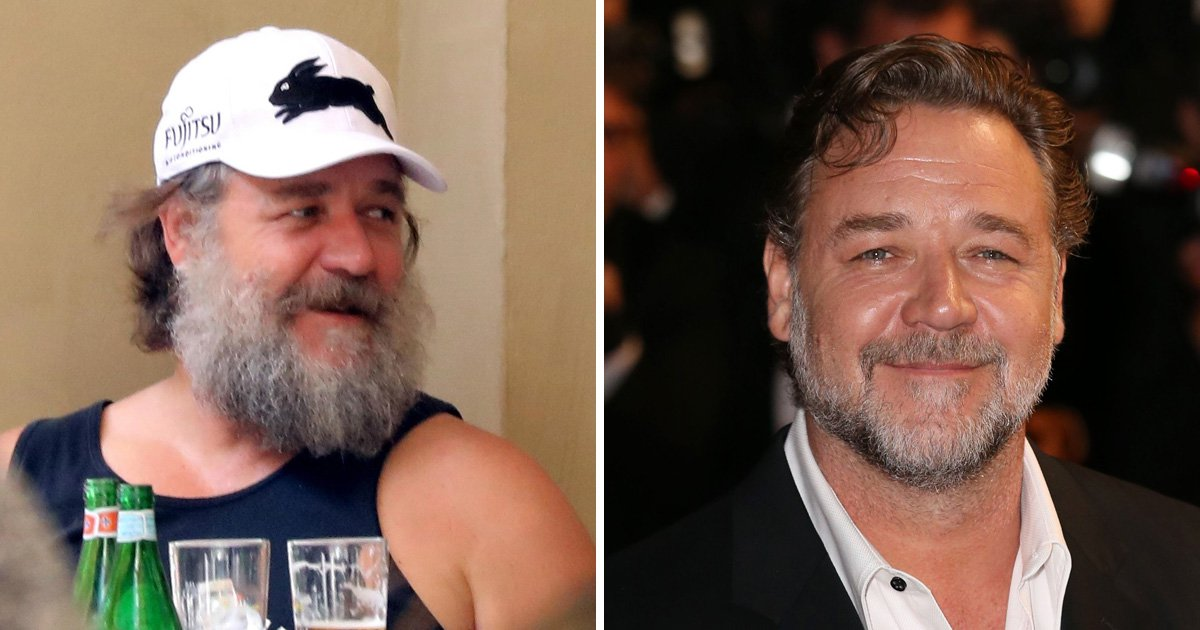 Russell Crowe shows no sign of shaving his beard as he's spotted enjoying a beer