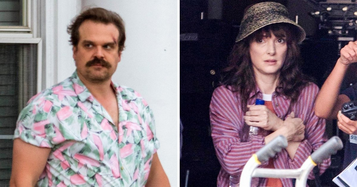 "*EXCLUSIVE* Cary Elwes, Winona Ryder, and David Harbour are seen on set for ""Stranger Things"""