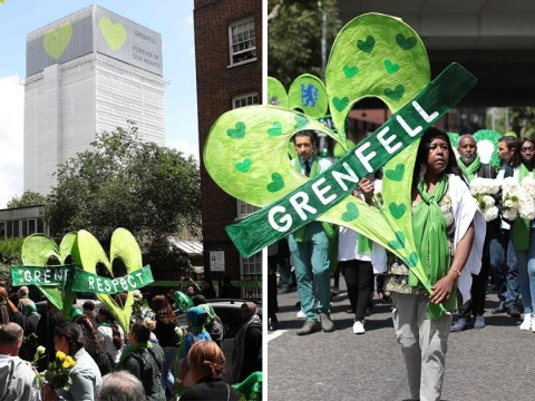 Thousands of people fall silent to march in memory of Grenfell victims