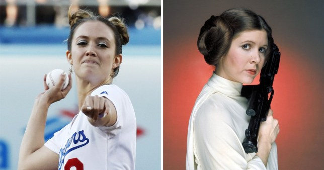 Billie Lourd with Princess Leia buns