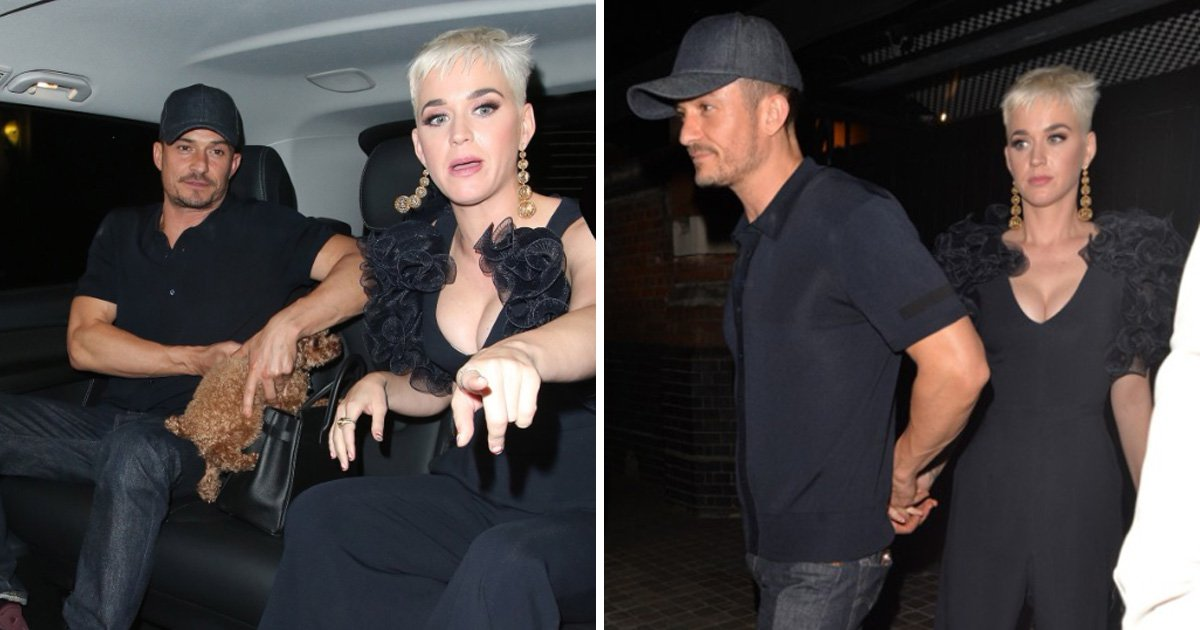 Katy Perry holds onto Orlando Bloom as they make rare appearance together in London