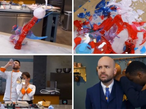 Bake Off Professionals descends into disaster as sugar sculpture is smashed to smithereens