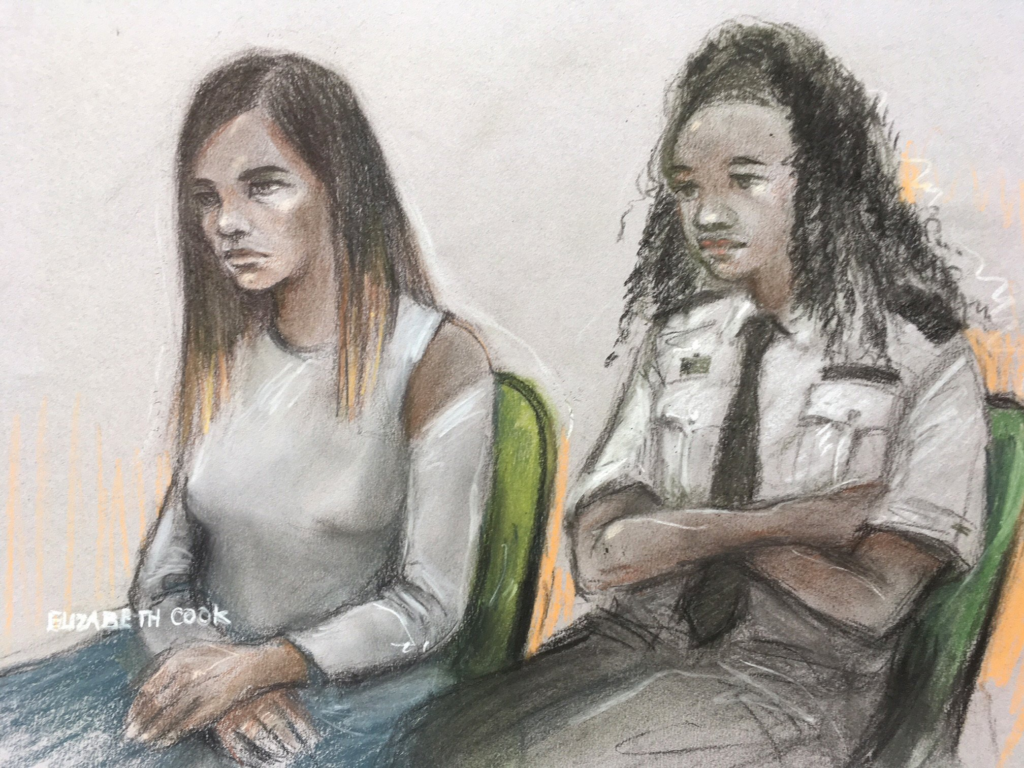 Court artist sketch by Elizabeth Cook of Safaa Boular (left) appearing at the Old Bailey in London where she denies two charges of preparing acts of terrorism. PRESS ASSOCIATION Photo. Picture date: Thursday May 10, 2018. Ms Boular plotted a gun and grenade ambush on the British Museum after her attempts to become an jihadi bride were thwarted. See PA story COURTS Boular. Photo credit should read: Elizabeth Cook/PA Wire