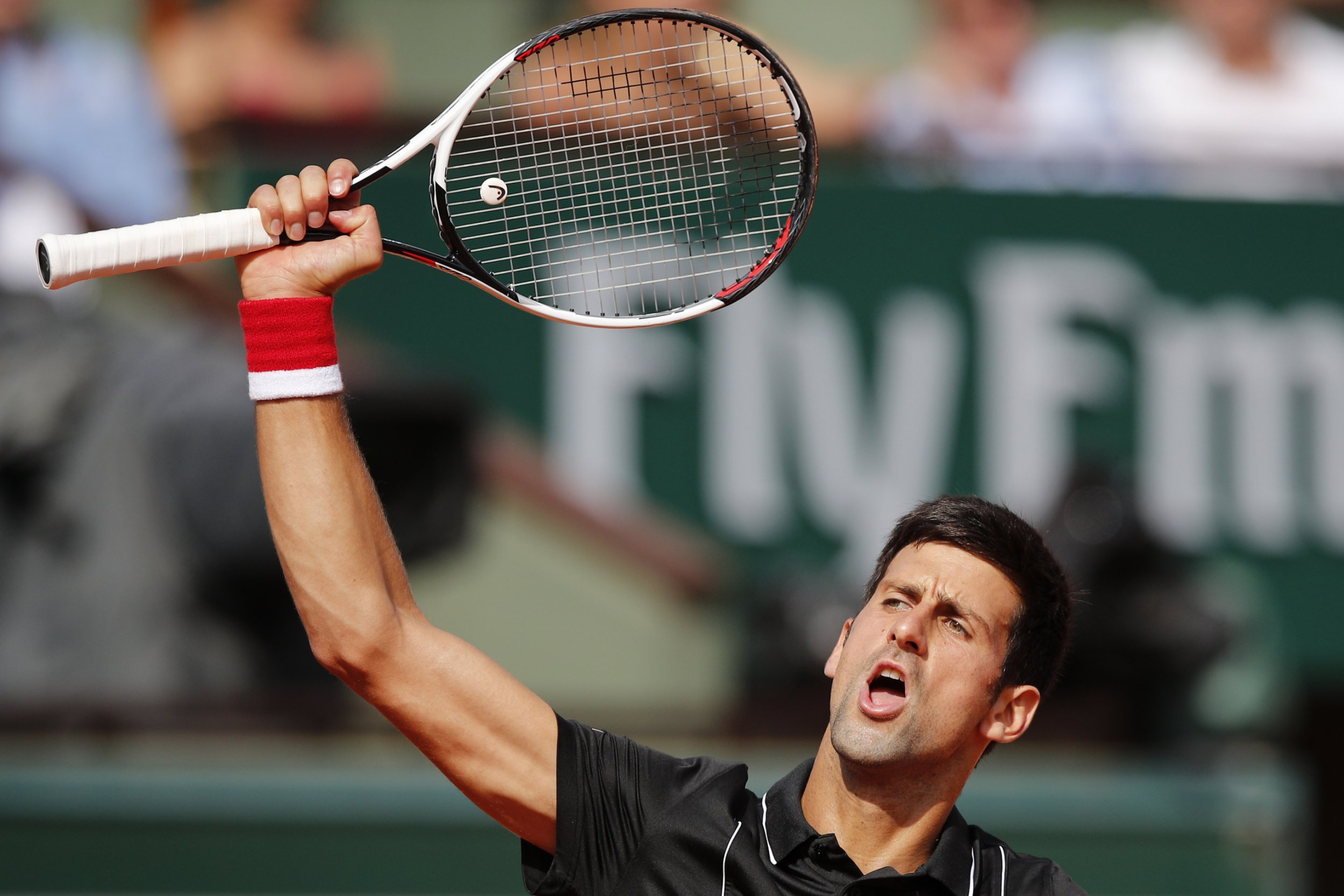Serbia's Novak Djokovic raises his arm as he plays Spain's Fernando Verdasco during their fourth round match of the French Open tennis tournament at the Roland Garros stadium, Sunday, June 3, 2018 in Paris. (AP Photo/Christophe Ena)