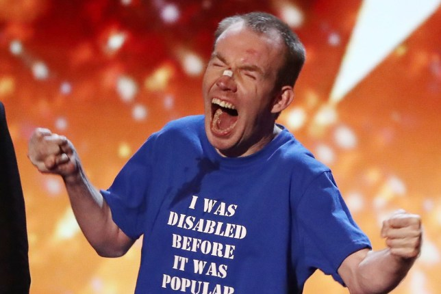 Editorial Use Only - No Merchandising Mandatory Credit: Photo by Dymond/Thames/Syco/REX/Shutterstock (9699621jj) Lost Voice Guy celebrates winning Britain's Got Talent 'Britain's Got Talent' TV show, Series 12, Episode 13, The Final, London, UK - 03 Jun 2018