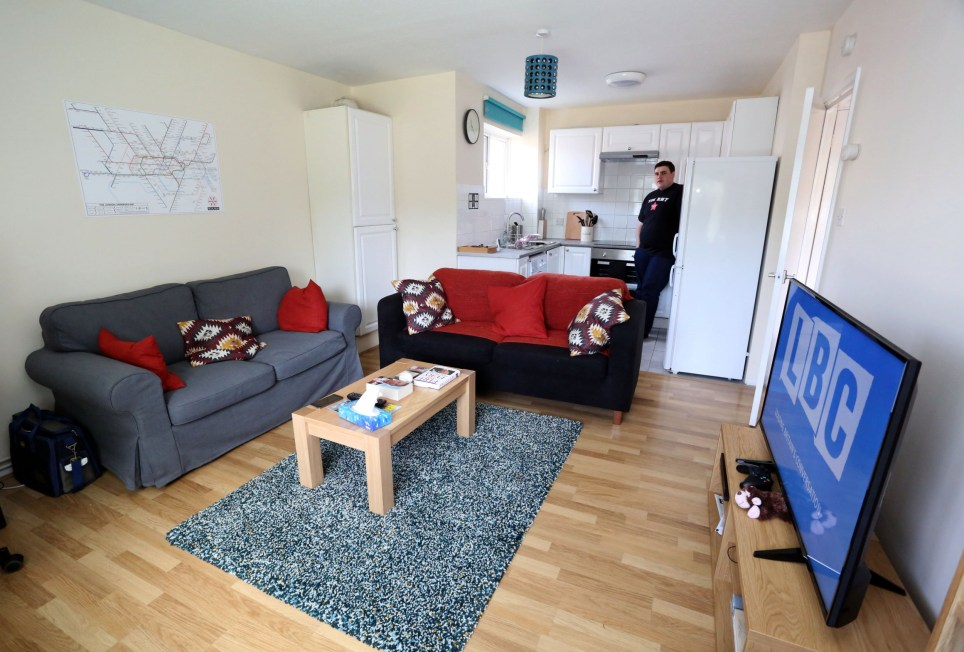 LONDON, UNITED KINGDOM, JUNE 6TH 2018. WHAT I RENT CASE STUDY: General view of the tenant Myles Swaine-Gray pictured in the open plan living room and kitchen of his one bedroom flat in Harrow, London, United Kingdom, June 6th 2018. Myles pays ?900 a month excluding bills and council tax. Photo credit: Susannah Ireland