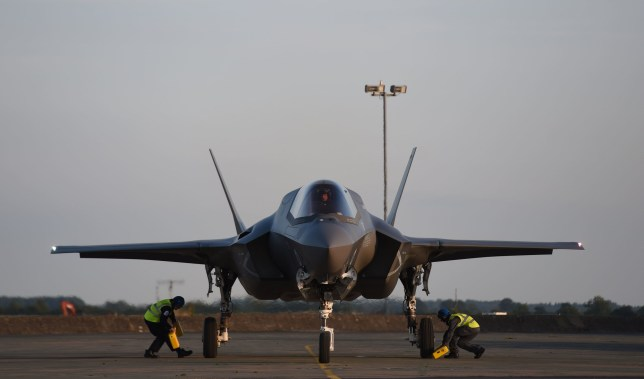One of Britain's F-35B jets arrive at RAF Marham in Norfolk. PRESS ASSOCIATION Photo. Picture date: Wednesday June 6, 2018. See PA story DEFENCE F35. Photo credit should read: Joe Giddens/PA Wire