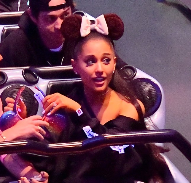 EXCLUSIVE: *NO WEB UNTIL 430PM BST 13TH JUNE* Ariana Grande and her new Fianc?? Pete Davidson spend a fun evening at Disneyland after announcing their engagement . The happy couple rode the Space Mountain ride twice after watching the fireworks in front of the castle. Ariana's brother Frankie rode the first round with her and she shared the front row with her man on the second time around on the rollercoaster. Ariana was all smiles with Pete and she even showed off her brand new engagement ring. The couple look incredibly happy, they were even seen sharing a sweet kiss while waiting in line to board the rollercoaster. 11 Jun 2018 Pictured: Ariana Grande and Pete Davidson. Photo credit: Marksman / MEGA TheMegaAgency.com +1 888 505 6342