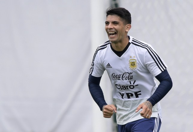 Argentina's midfielder Ever Banega takes part in a training session at the team's base camp in Bronnitsy, on June 13, 2018 ahead of the Russia 2018 World Cup football tournament. / AFP PHOTO / JUAN MABROMATAJUAN MABROMATA/AFP/Getty Images