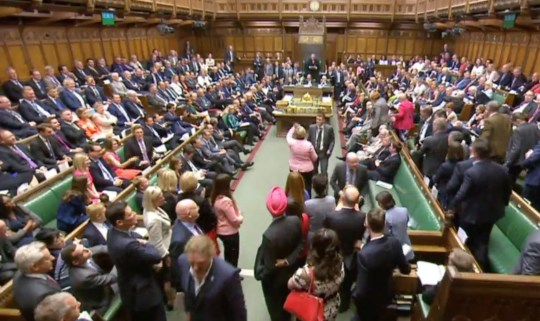 Members of Parliament for the Scottish National Party (SNP) walk out of the House of Commons during Prime Minister's Questions after their leader Ian Blackford was asked to leave by the Speaker, in London, Britain, June 13, 2018. Parliament TV handout via REUTERS NO SALES THIS IMAGE HAS BEEN SUPPLIED BY A THIRD PARTY