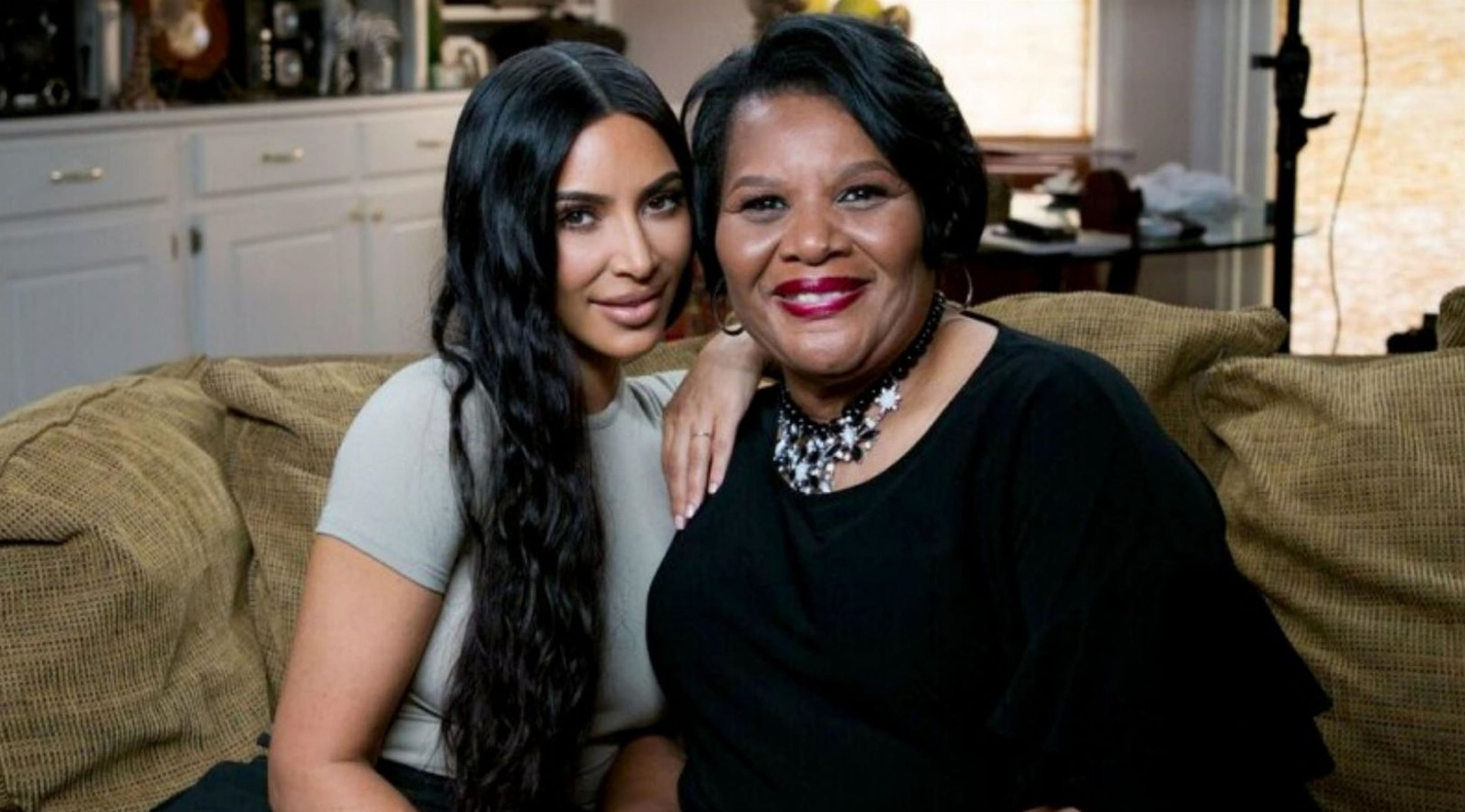 """BGUK_1262366 - ** RIGHTS: WORLDWIDE EXCEPT IN UNITED STATES ** Los Angeles, CA - Kim Kardashian meets pardoned prisoner Alice Johnson for the first time after the reality TV queen petitioned Trump to commute the drug offender's life sentence. The reality star visited Alice Johnson at her Memphis, Tennessee home on Wednesday, one week after the 63-year-old was released from jail following Kim's personal plea for the President to commute her life sentence. The pair were seen cuddling up together on Johnson's couch as they prepared for their first joint TV interview. In their sit down with NBC News??? TODAY, Hoda Kotb, Kardashian and Johnson discussed the moment they first laid eyes on each other. """"I love this woman,"""" Kardashian said, to which Johnson replied: """"I love this lady."""" Kim added: """"I mean I already knew just by talking to you on the phone and just seeing you in videos, but I mean you are everything and more than I ever thought."""" Johnson said her only reaction when she met the star was: """"This is Kim!"""" """"Y???all haven???t stopped hugging, I did notice that. I think that you guys are going to be connected for a long time,"""" Kotb noted, adding that Johnson had been nervous ahead of the meeting. Kotb added: """"Literally before you got here, Alice was ringing her hands. I go: 'Okay. Kim is coming,??? she???s like: 'I???m ready. I???m ready to meet Kim. I???m ready to meet Kim'. She also described the former inmate as being 'lit from inside'. Kim, who had been working on behalf of the grandma for months, was the first person to tell the nonviolent drug offender about her commutation back on June 6, 2018. But while the pair had spoken on the phone, this was their first in-person encounter. Talking to Good Morning America on June 7, Johnson said: """"When Kim told me that I was being released, I started jumping and screaming and crying, and everyone else was crying. It was wonderful. I'm so glad that she was the one who was able to deliver the news to me. It was a perfect en"""