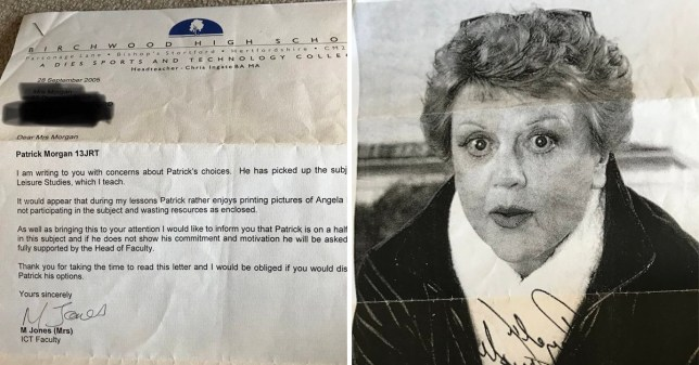 (Picture: Pat Morgan)Letter from teacher about boy who kept printing pictures of angela lansbury
