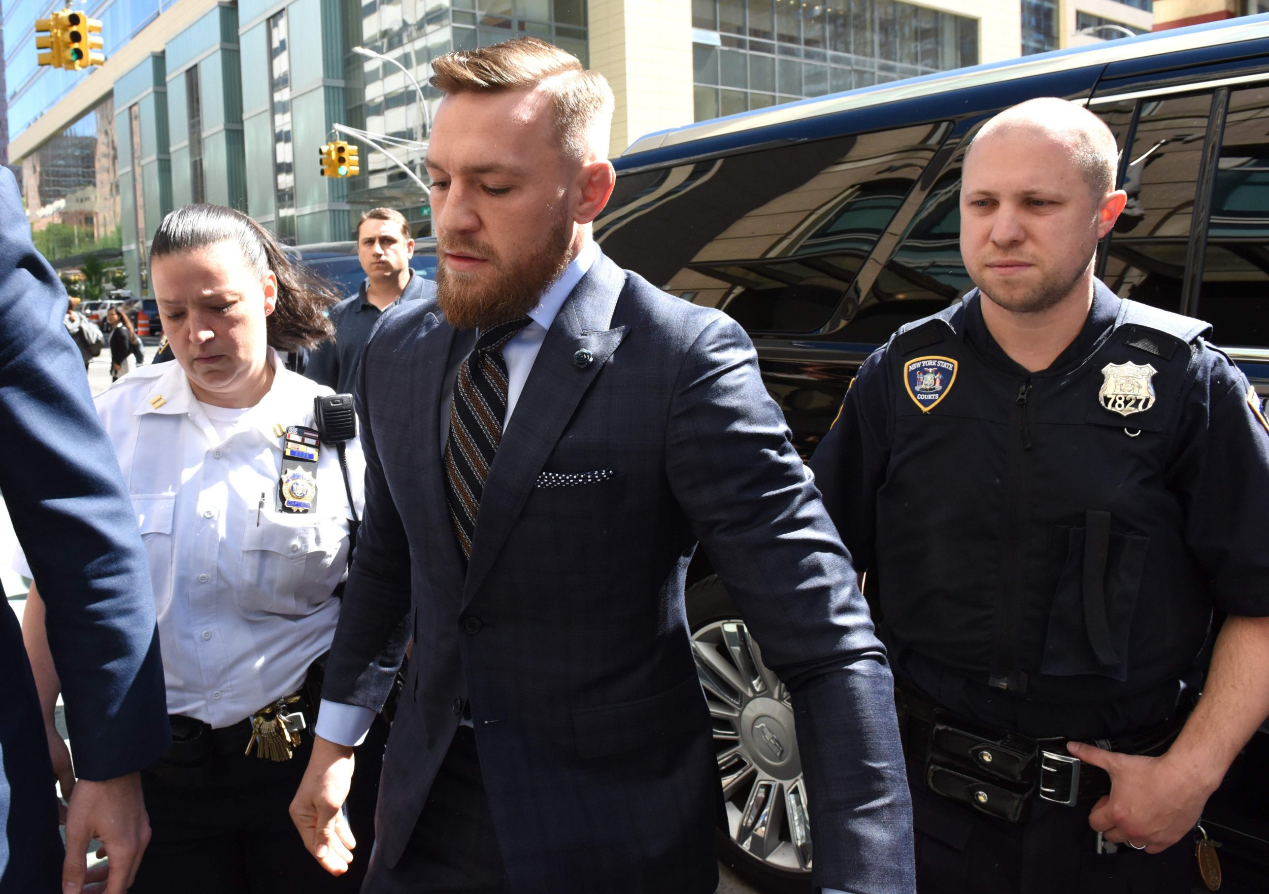 Mixed martial arts fighter Conor McGregor arrives at Brooklyn Supreme courtin New York on June 14, 2018, stemming from his April attack on a bus at Barclays Center. / AFP PHOTO / TIMOTHY A. CLARYTIMOTHY A. CLARY/AFP/Getty Images