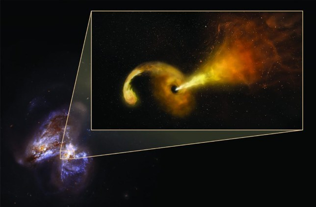An artist?s representation of a black hole eating a star and spewing a jet.10 Years of Data Appears to Show Black Hole Eating a Star