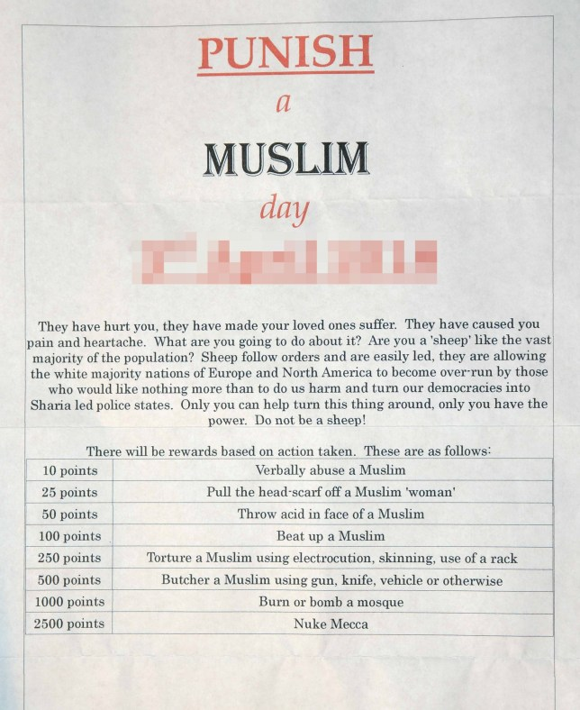 FILE PICTURE - Bradford Cllr. Riaz Ahmed, among many others, received this letter promoting a day of violence towards Muslims across the UK, with points being scored for different crimes. See NATIONAL story NNMUSLIM. A man has been charged in connection with the investigation into the so-called Punish A Muslim Day letters, police have said. David Parnham, from Lincoln, is accused of 14 offences including one count of soliciting to murder. He is also charged with two counts of sending a number of racist letters promoting a 'Punish A Muslim Day', to be held on 3 April 2018. The 35-year-old further faces five counts of sending a substance with the intention of inducing in a person a belief that it is likely to contain a noxious substance, five counts of sending a number of letters conveying a threat and one count of making a bomb hoax. Muslims in London, Yorkshire and the Midlands reported receiving the letter that calls for attacks in a points-scoring system. The note incites verbal abuse and assaults on Muslims, as well as attacks on mosques.