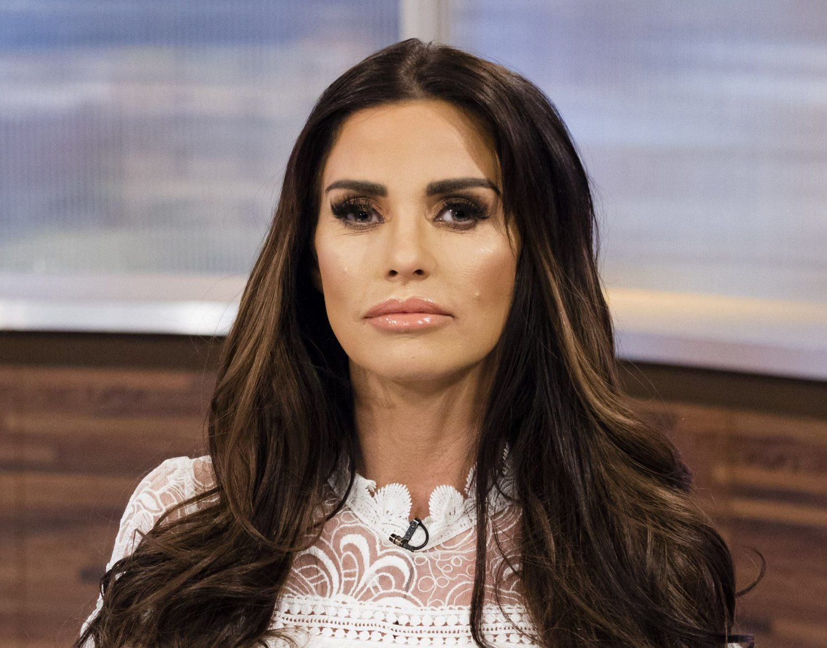 EDITORIAL USE ONLY. NO MERCHANDISING Mandatory Credit: Photo by Ken McKay/ITV/REX/Shutterstock (9353188bq) Katie Price 'Peston On Sunday' TV show, London, UK - 04 Feb 2018