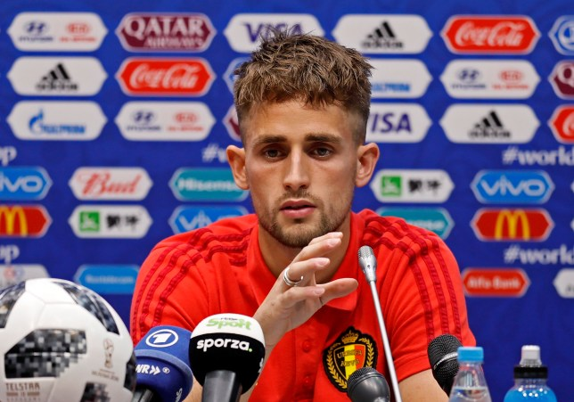 epa06813938 Belgium's player Adnan Januzaj attend a press conference at Fisht Stadium in Adler Sochi, Russia, 16 June 2018. Belgium will face Panama in the FIFA World Cup 2018 Group G preliminary round soccer match on 18 June 2018. EPA/RONALD WITTEK EDITORIAL USE ONLY