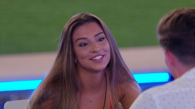 Editorial Use Only. No Merchandising. No Commercial Use. Mandatory Credit: Photo by ITV/REX/Shutterstock (9719333al) Zara McDermott 'Love Island' TV Show, Series 4, Episode 15, Majorca, Spain - 18 Jun 2018 It's date night in the villa, but what is on the menu for these couples?