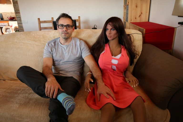 Catalan nanotechnology engineer Sergi Santos poses beside Samantha, a sex  doll packed with artificial intelligence