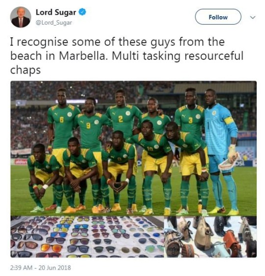 Lord Sugar ??? Verified account @Lord_Sugar 8m8 minutes ago I recognise some of these guys from the beach in Marbella. Multi tasking resourceful chaps