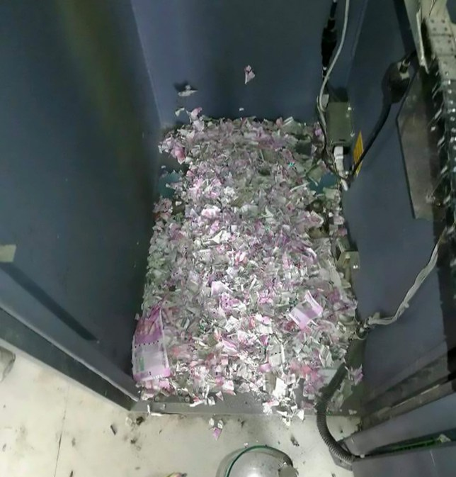 """Pics shows: The money destroyed by the rats; Bank technicians were shocked to discover the reason why a cash machine had stopped working - mice had got inside and eaten the money. The rodents had chewed their way through 1.2 million INR (13,400 GBP) in banknotes inside the ATM in the Laipuli area of the city of Tinsukia in north-eastern India's Assam state. The branch of the State Bank of India called in workmen after the cash machine stopped working but could not believe what was causing the problem. When the ATM was opened up, they found that mice had chewed most of the money inside the machine into shreds. The day before the cash machine had stopped working, a private security firm had filled it up with 500 and 2,000 INR banknotes. Almost half of the money had been ripped up by the rodents. Local media reports that a complaint has been lodged with local police - although it is not clear what officers are expected to do about the rodents. Tinsukia district Superintendent of Police, Mugdhajyoti Mahanta, said the bank's maintenance company had called out an engineer from Kolkata to repair the ATM. """"When the engineer and other officials opened the ATM, they found destroyed notes and also found a dead mouse inside the ATM,"""" he said. Pictures of the state of the ATM which workmen found when they opened it up have been proving popular after they were shared on social media. Twitter user 'mogembokhushua' commented: """"Surgical strike by mice on ATM machine."""" One user said: """"Looks like the mice are having a demonetisation of their own"""", while another added: """"The money launderer's version of 'My dog ate my homework'."""""""