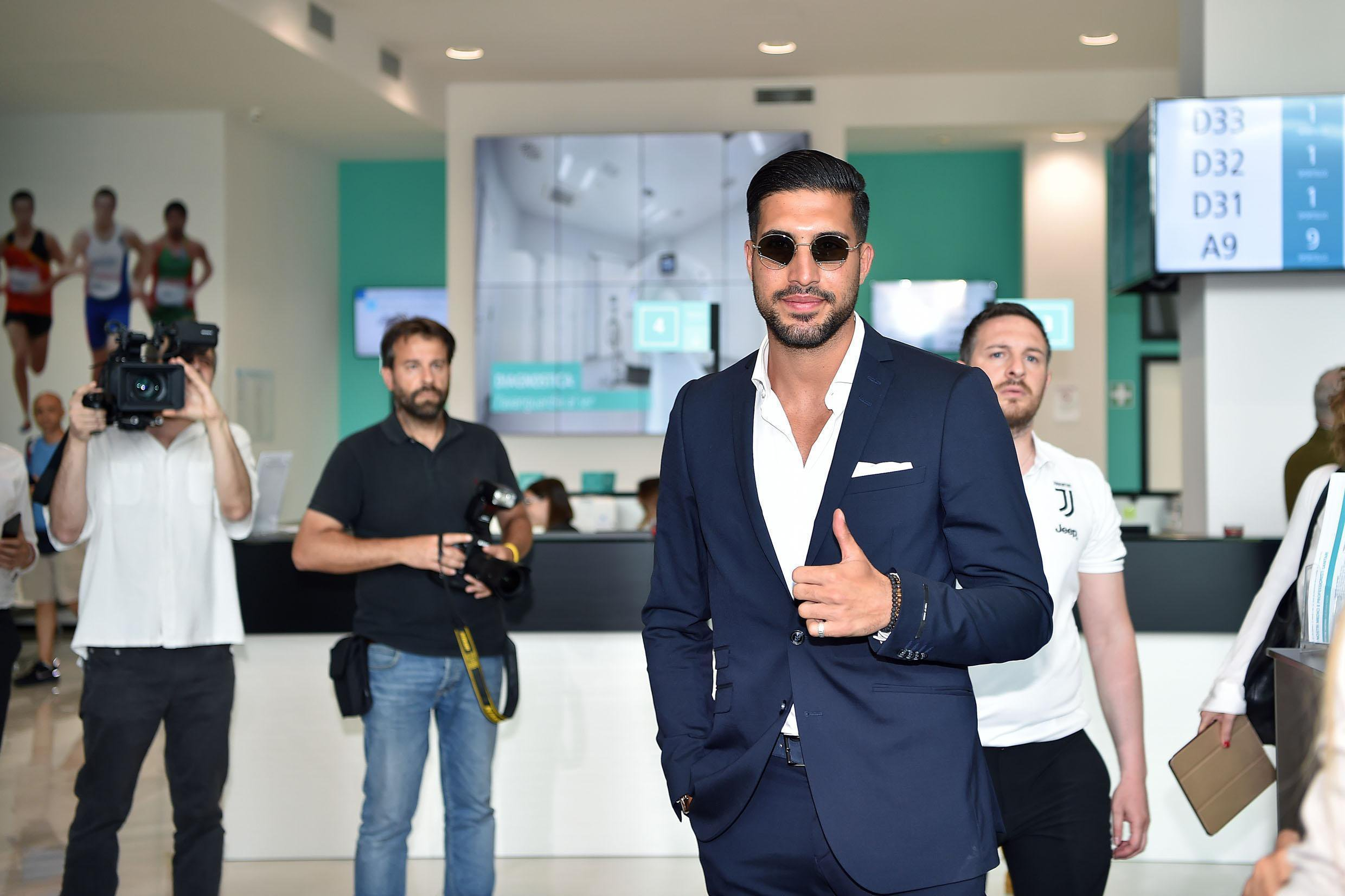 German player Emre Can, newly acquired Juventus midfielder, arrives at the Juventus medical center to undergo medical tests in Turin, Italy, Thursday, June 21 2018. (Alessandro Di Marco/ANSA via AP)