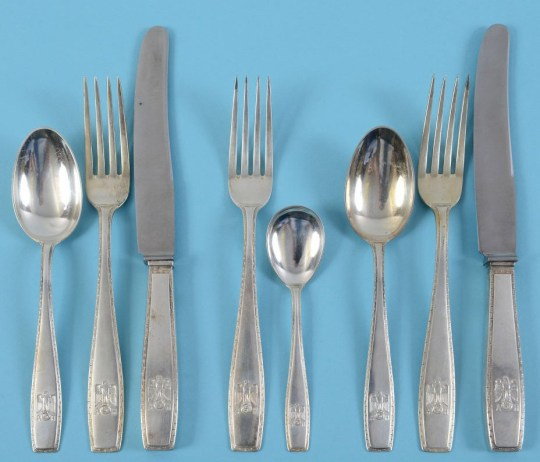 BNPS.co.uk (01202 558833)?Pic: CharterhouseAuction/BNPS Hitler's personal cutlery has emerged for sale. A selection of Hitler's personal cutlery has emerged for sale after being discovered at the estate of a late British military officer. The sets of knives, forks and spoons have his initials 'A' and 'H' and the Nazi eagle and swastika engraved on to them. They were made to commemorate his 50th birthday in April 1939 as he was making his final preparations before his invasion of Poland. The cutlery was found in a drawer in a study during a house clearance in Dorset.