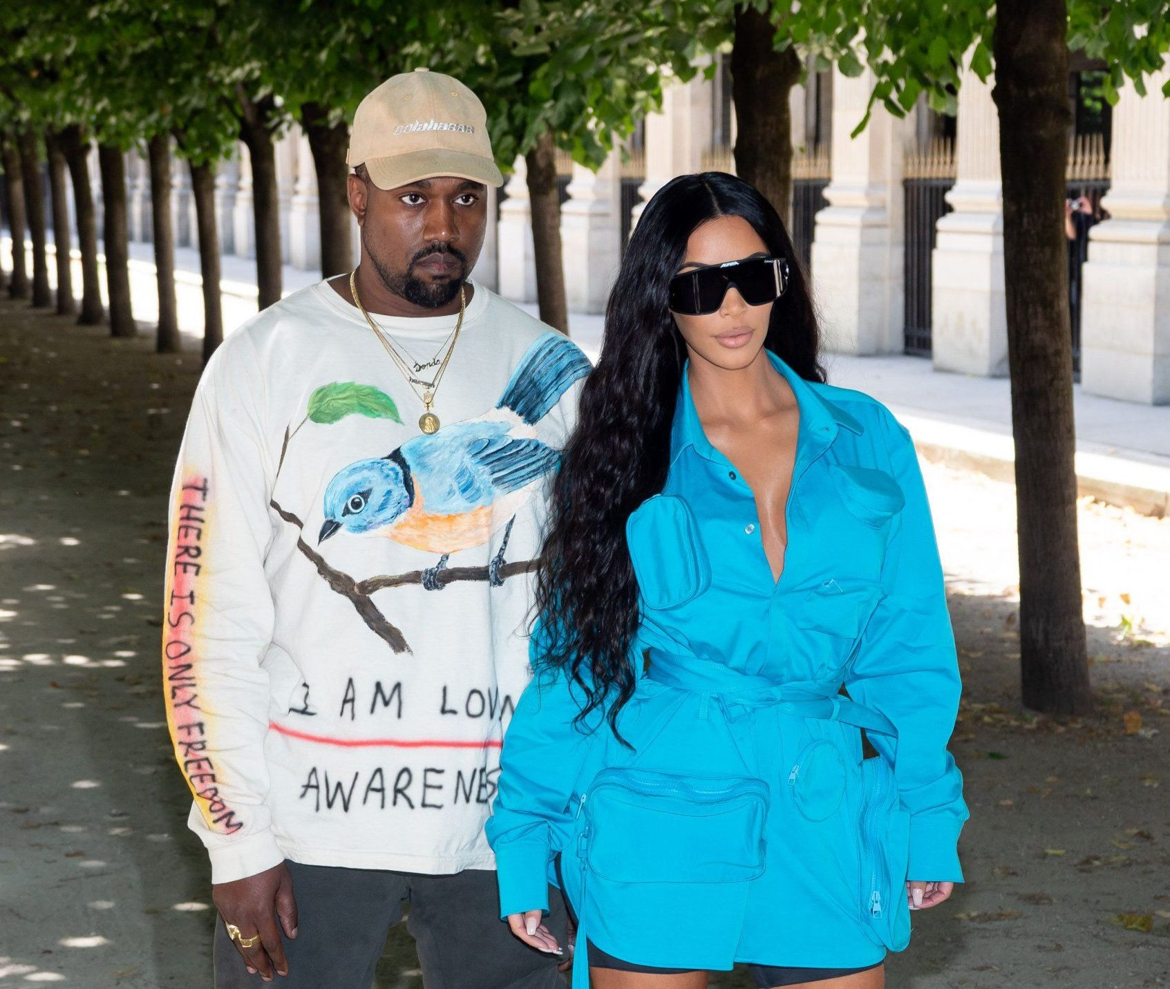 Mandatory Credit: Photo by Laurent VU/SIPA/REX/Shutterstock (9723968s) Kanye West and Kim Kardashian in the front row Louis Vuitton show, Front Row, Spring Summer 2019, Paris Fashion Week Men's, France - 21 Jun 2018