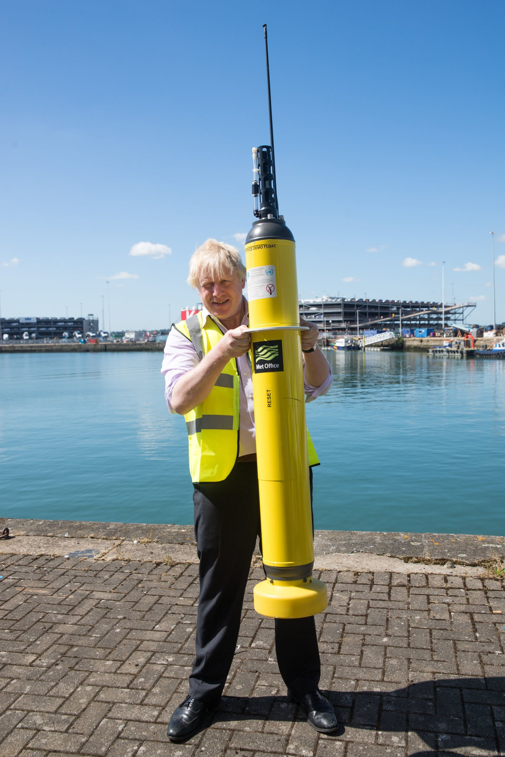 Foreign Secretary, Boris Johnson, holds a demo Met Office Argo float used for measuring ocean temperatures and salinity, during his visit to the National Oceanography Centre in Southampton ahead of the forthcoming FCO Oceans Strategy. PRESS ASSOCIATION Photo. Picture date: Friday June 22, 2018. Photo credit should read: Matt Cardy/PA Wire